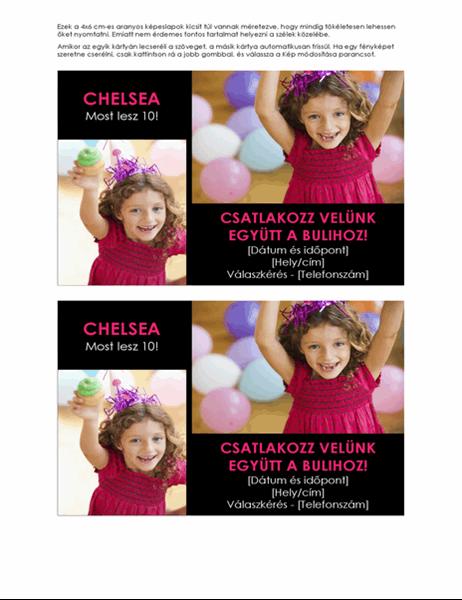 Születésnapi bulira szóló meghívó képeslapok fényképekkel (laponként 2)