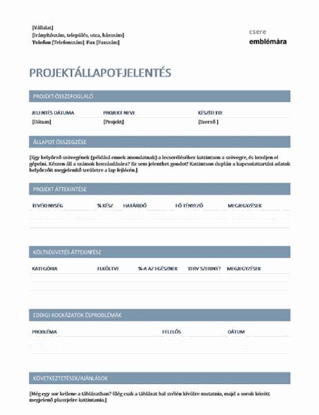 Projektállapot-jelentés
