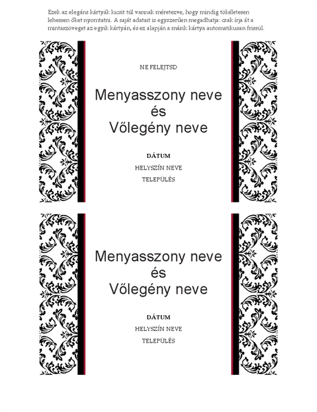 Ne felejtsd esküvői kártya (Fekete-fehér esküvői arculat)