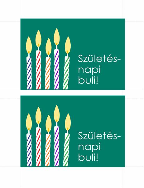 Születésnapi meghívó képeslapok (2 db/oldal)