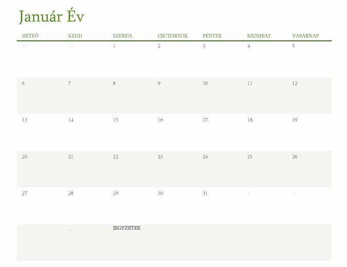 Általános éves naptár (1 hónap/lap)