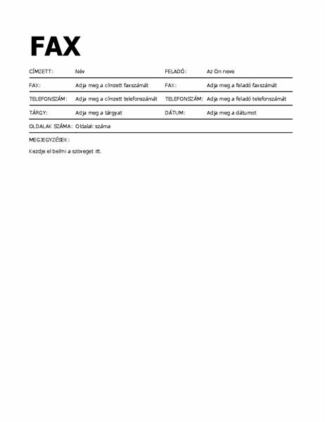 Látványos faxfedőlap