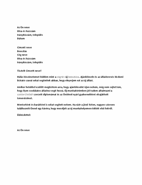 Korábbi felettesnek írt köszönőlevél sikert hozó ajánlólevélért