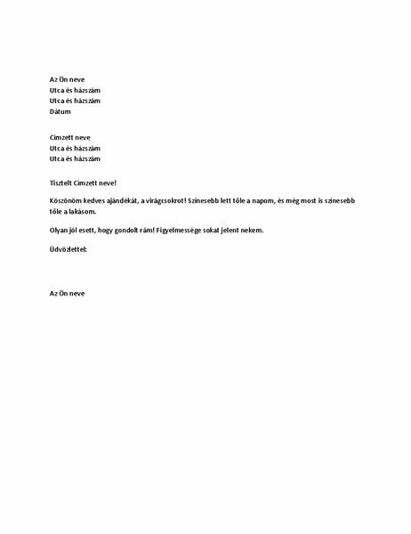 Személyes ajándékot megköszönő levél