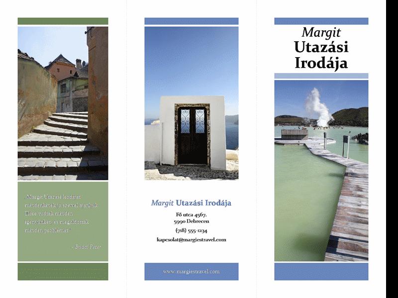 Háromrészes utazási brosúra (kék és zöld terv)