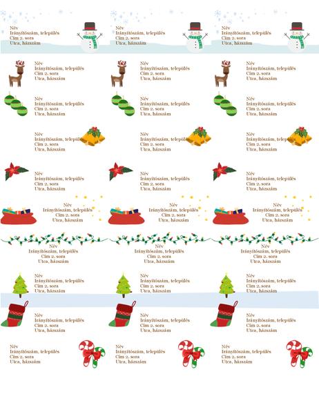 Ajándékcímkék (karácsonyi hangulat látványelem, laponként 30, Avery 5160 kódú papírhoz)