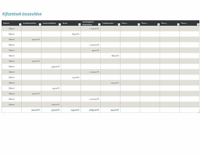Kifizetési napló