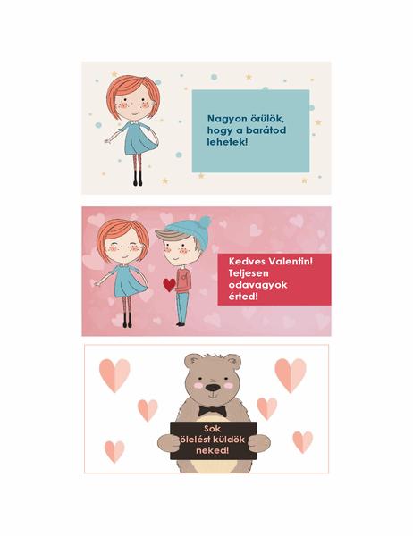 Valentin-napi kártya gyerekeknek (12 terv, 3 oldalanként)