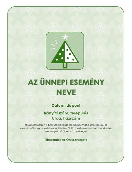Ünnepi esemény szórólapja (zöld fával)