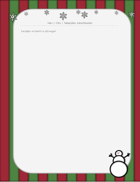 Ünnepi levélpapír (hóemberrel)