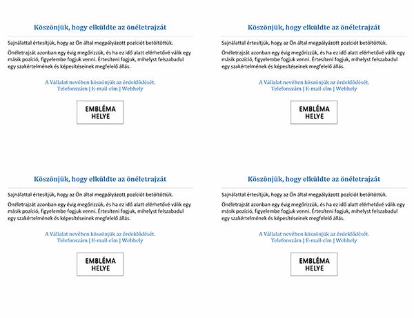 A pályázókat az állás betöltéséről értesítő képeslap (4/oldal)