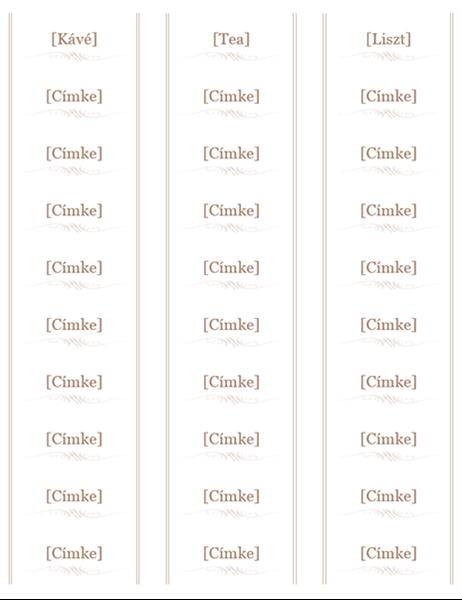 Befőttesüveg-címkék (Étkészlet arculat, 30 db/oldal, Avery 5160-kompatibilis)