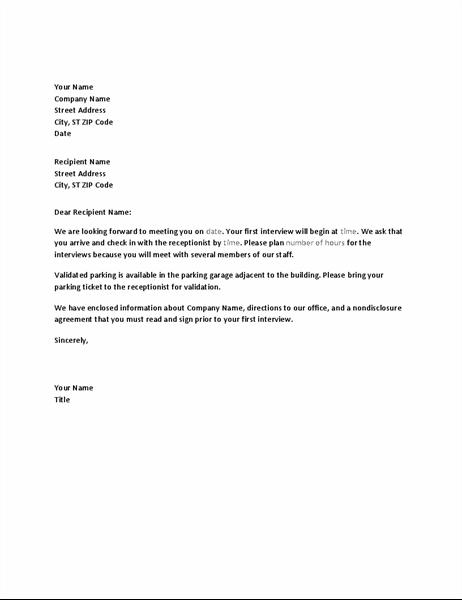 Pályázó állásinterjúját visszaigazoló levél