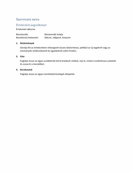 Értekezleti jegyzőkönyvek (rövid űrlap)