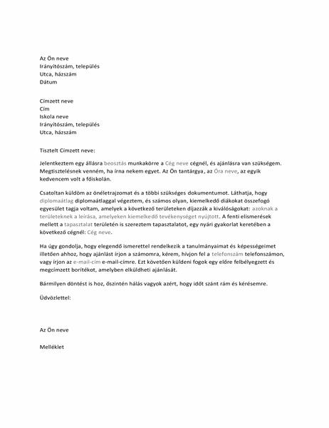 Ajánláskérő levél