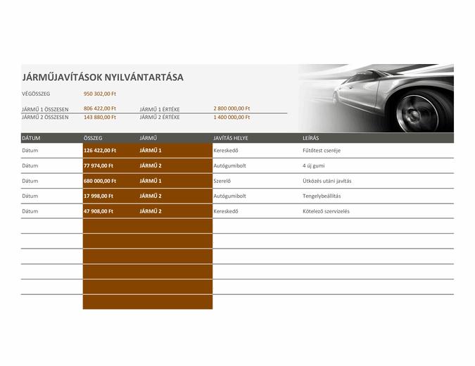 Autójavítások nyilvántartása
