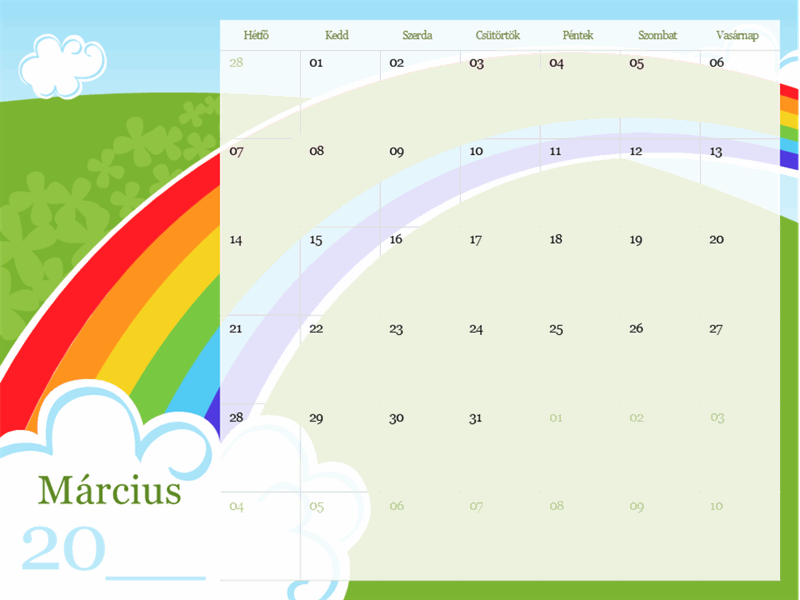 Illusztrált évszakos naptár (hétfő–vasárnap)