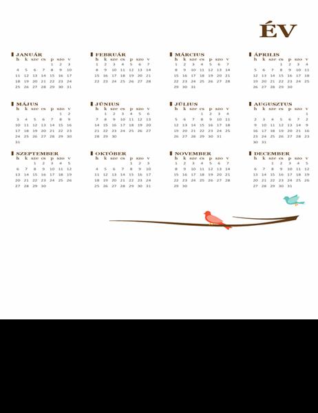 Madaras éves naptár (hétfő–vasárnap)