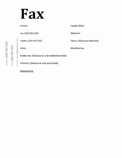 Faxfedőlap (hivatalos megjelenésű)