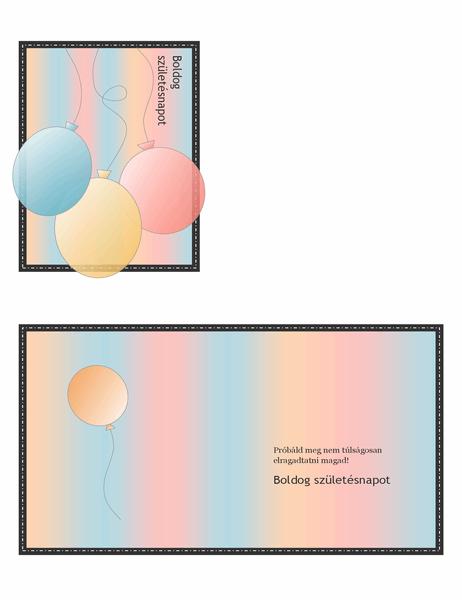 Születésnapi üdvözlőkártya (lufikkal és csíkokkal, négybe hajtató)