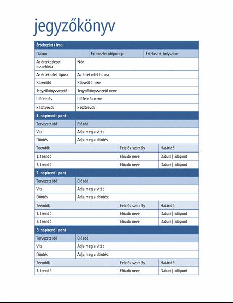 Elegáns értekezleti jegyzőkönyv