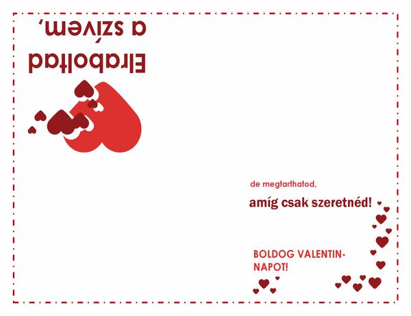 Valentin-napi kártya (szíves terv, négyrét hajtva)
