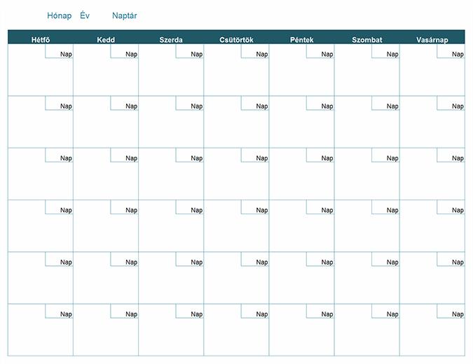 Üres havi naptár