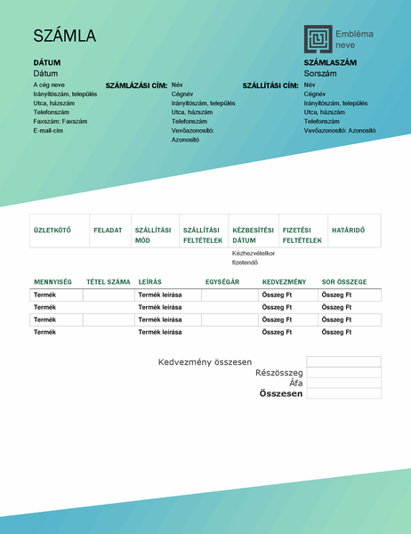 Értékesítési számla (zöld színátmenetes arculat)
