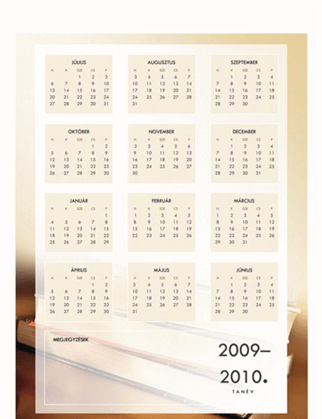 Naptár a 2009–2010. tanévre (1 oldal, hétfőtől péntekig)