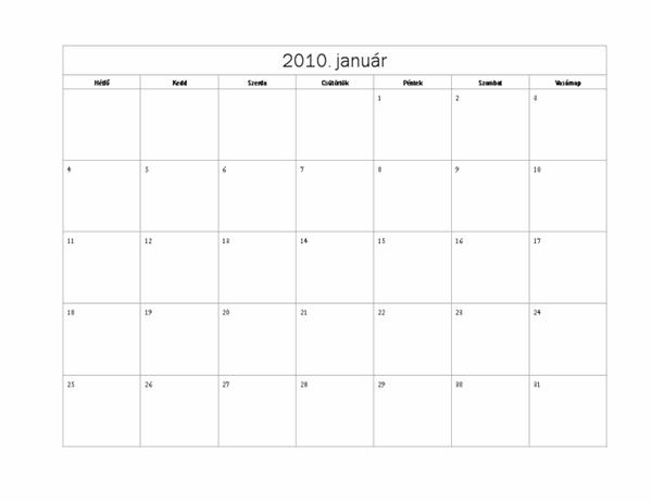 2010. évi naptár (egyszerű látványterv, hétfő–vasárnap)