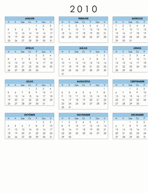 2010. évi naptár (1 oldal, fekvő, hétfő–vasárnap)