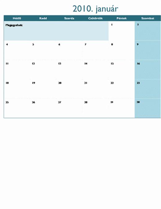 2010. évi naptár több munkalapon (12 oldal, hétfő–vasárnap)