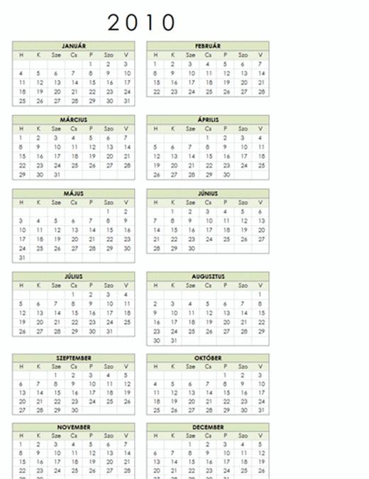 2010. évi naptár (1 oldal, álló, hétfő–vasárnap)