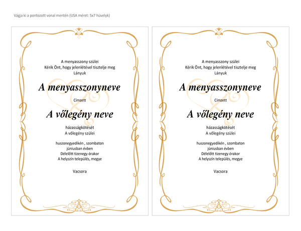 Esküvői meghívók (kacskaringós szíves kialakítás, A7 méret, laponként 2)