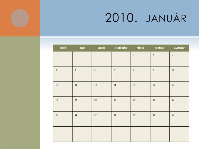 2010. évi naptár (hétfő–vasárnap)