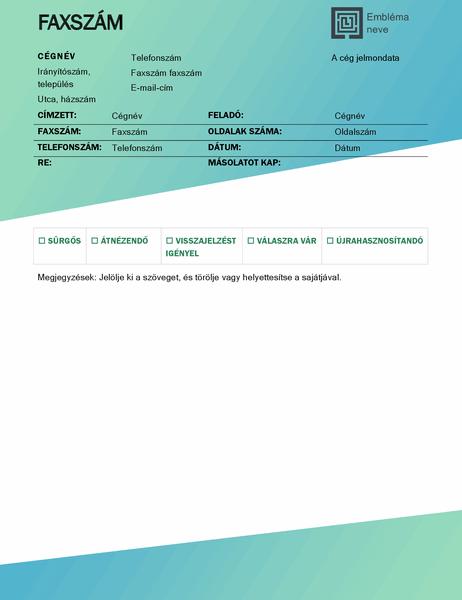 Faxfedőlap (zöld színátmenetes arculat)