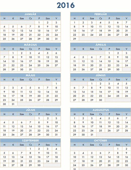 2016–2025-ös iskolai naptár