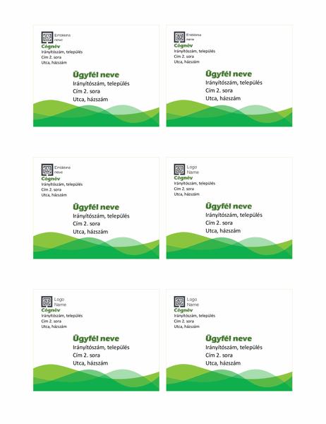 Szállítási címkék (Zöld hullám arculat, oldalanként 6)