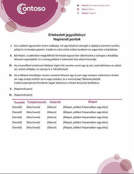 Rózsaszín kivitelű értekezlet-jegyzőkönyv
