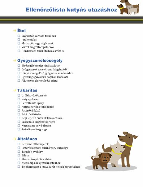 Kutyák igényeihez készült utazási feladatlista
