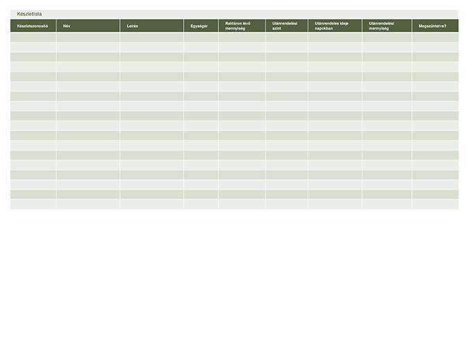 Készletlista