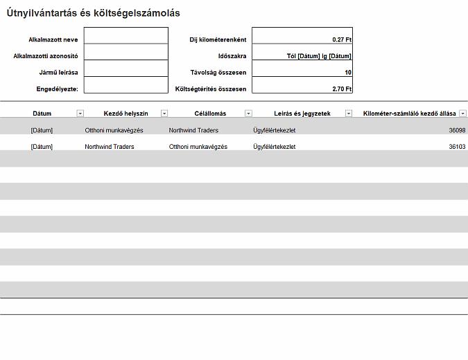 Útnyilvántartás és költségelszámolás