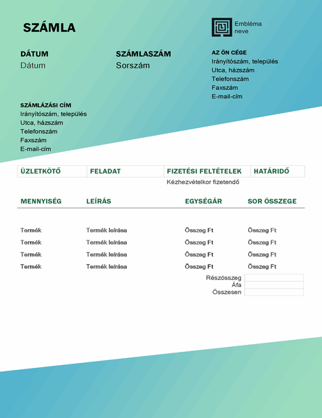 Szolgáltatásszámla (Zöld színátmenetes arculat)