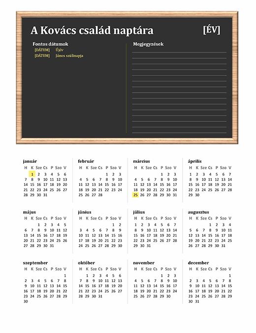 Családi naptár (tetszőleges év, hétfő-vasárnap)
