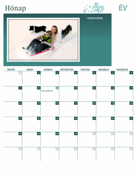 Szezonális családi naptár (bármelyik év, hétfő-vasárnap)