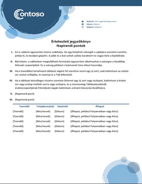 Kék kivitelű értekezlet-jegyzőkönyv