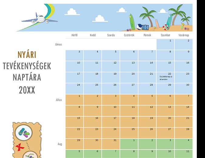 Nyári tevékenységek naptára