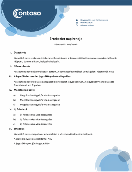 Kék kivitelű napirend
