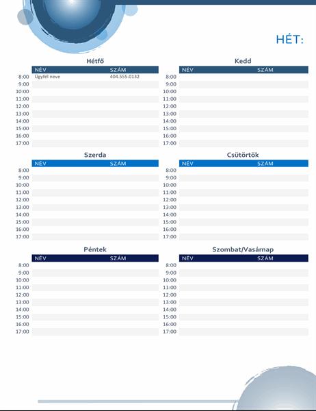 Kék kivitelű naptár