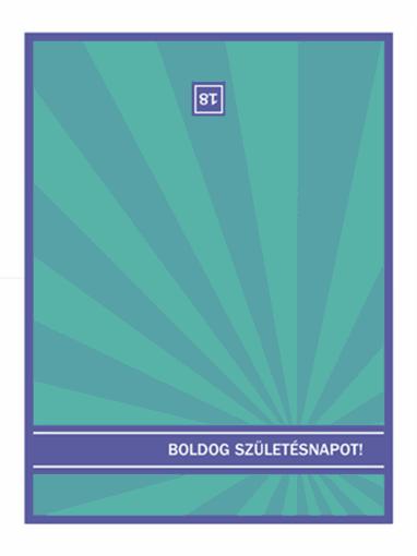 Köszöntőkártya különleges születésnapokra (kék sugarakkal)